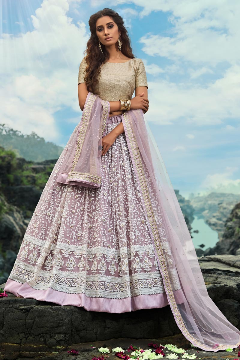 Exclusive Designer Embroidered Net Fabric Function Wear Lavender Color Lehenga Choli