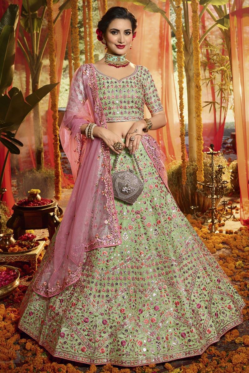 Exclusive Embroidered Sea Green Color Wedding Lehenga