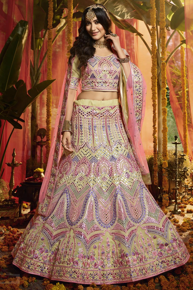 Exclusive Cream Color Organza Fabric Reception Wear Lehenga Choli
