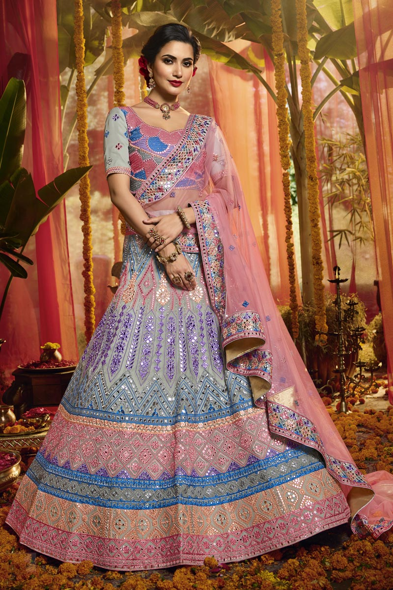 Exclusive Organza Fabric Multi Color Wedding Wear 3 Piece Lehenga Choli