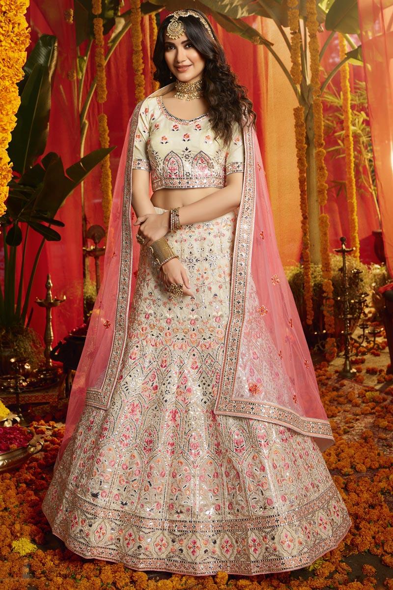 Exclusive White Color Designer Wedding Lehenga
