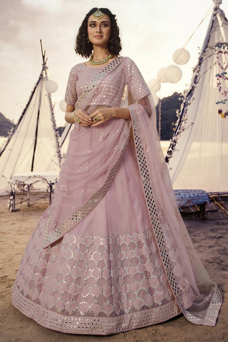 Function Wear Organza Fabric Lehenga Choli In Pink Color