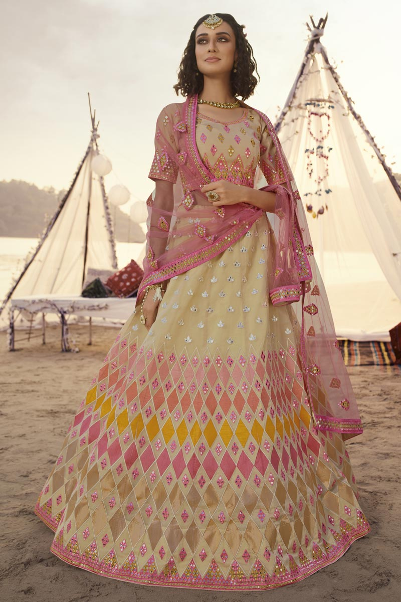 Wedding Wear Beige Color Lehenga Choli In Organza Fabric