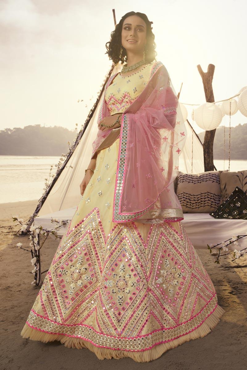 Sangeet Wear Yellow Color Organza Fabric Lehenga Choli