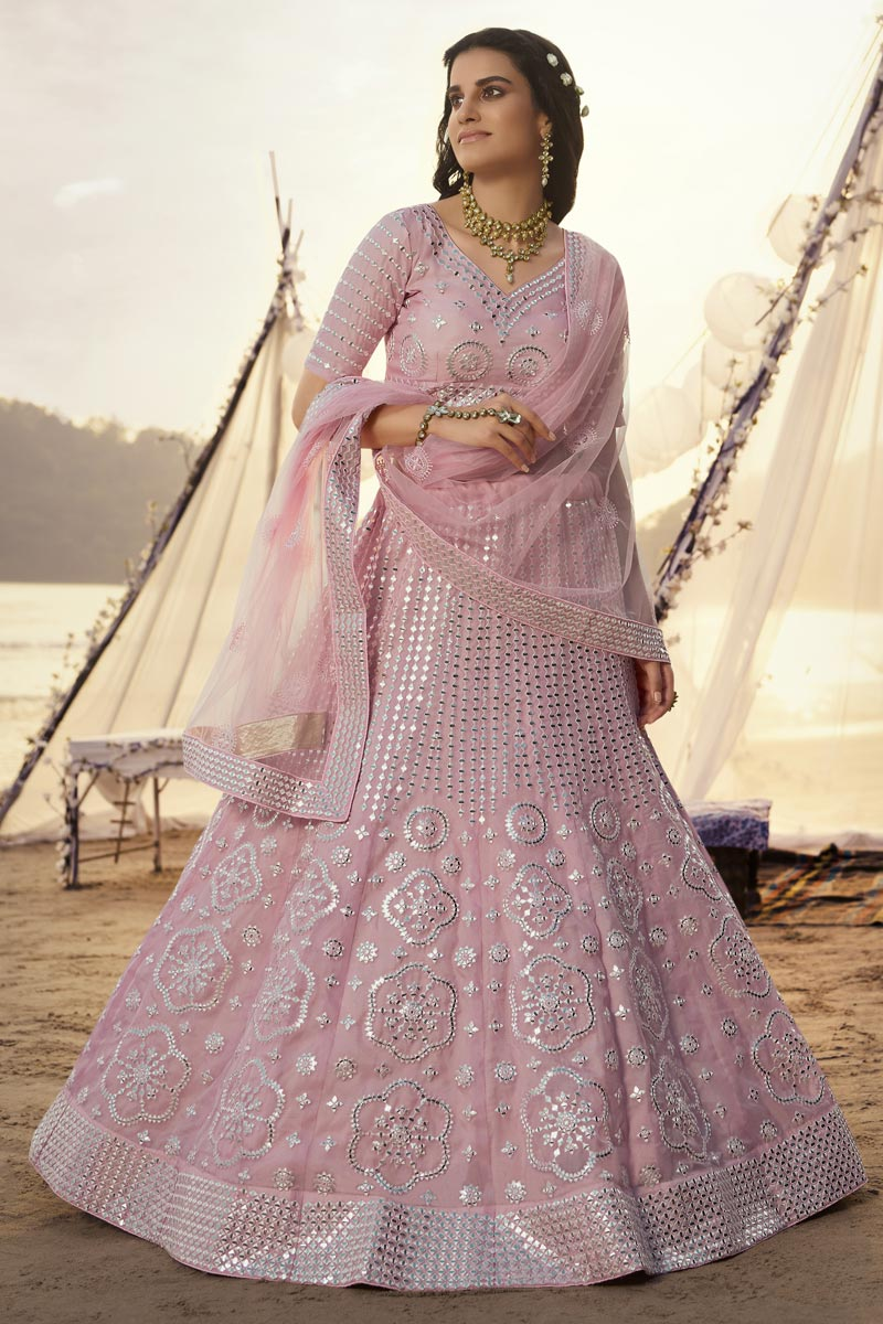 Function Wear Organza Fabric Pink Color Lehenga Choli