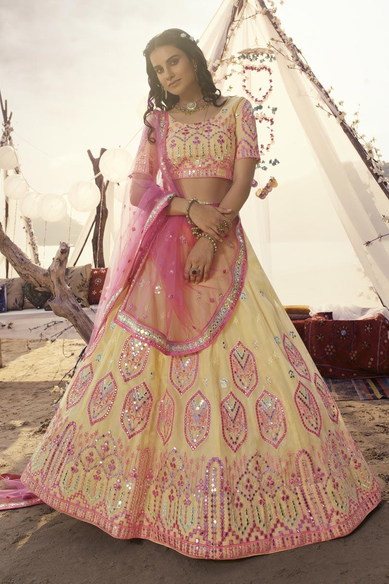 Yellow Color Wedding Wear Organza Fabric Lehenga