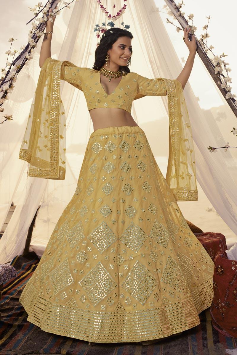 Sangeet Wear Yellow Color Lehenga In Organza Fabric
