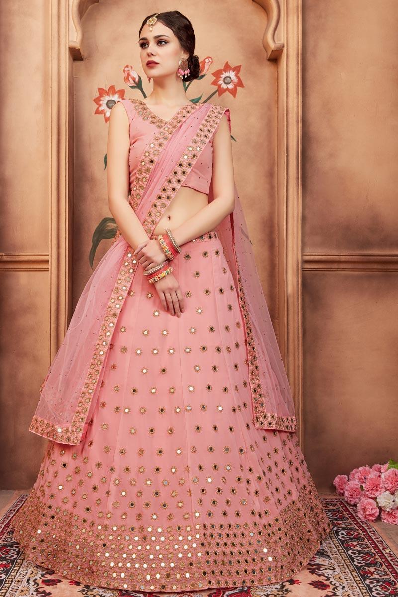 Exclusive Pink Embroidered Function Wear Designer Georgette Fancy Lehenga Choli