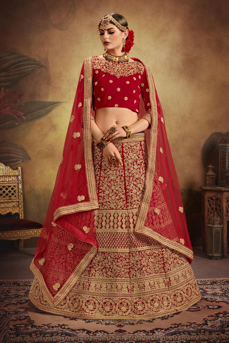 Buy Exclusive Heavy Embroidered Velvet Fabric Bridal Lehenga In Red Color With Designer Choli Online 176gulkhandv22101