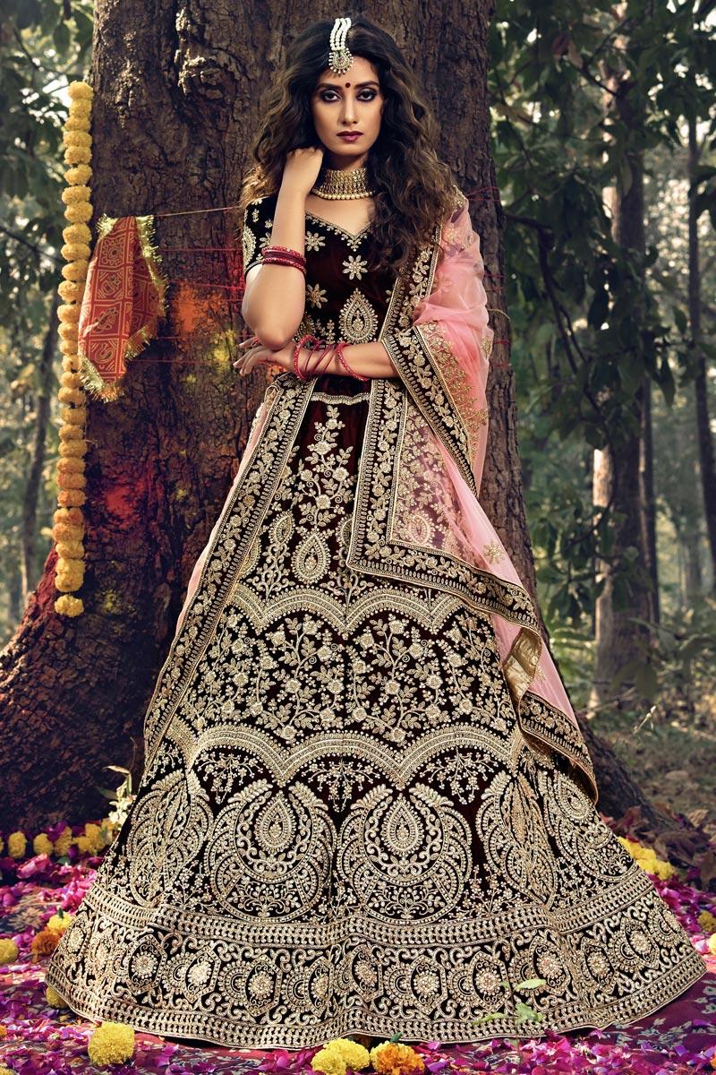 Designer Embroidered Maroon Color Wedding Wear Velevet Fabric Lehenga Choli