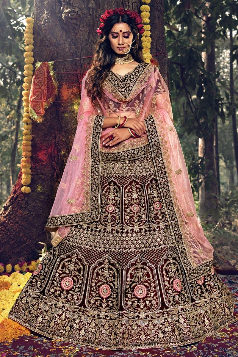 Wedding Wear Maroon Color Designer Velevet Fabric Embroidered Lehenga Choli