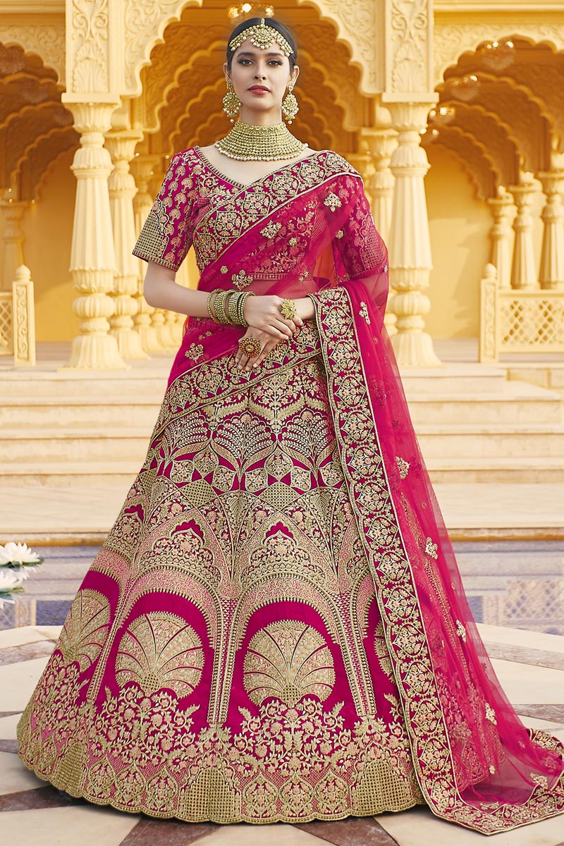 Pink Color Wedding Wear Embroidered Lehenga In Velvet Fabric