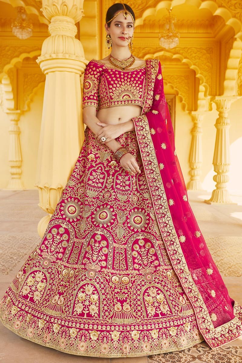 Wedding Wear Pink Color Velvet Fabric Embroidered Lehenga