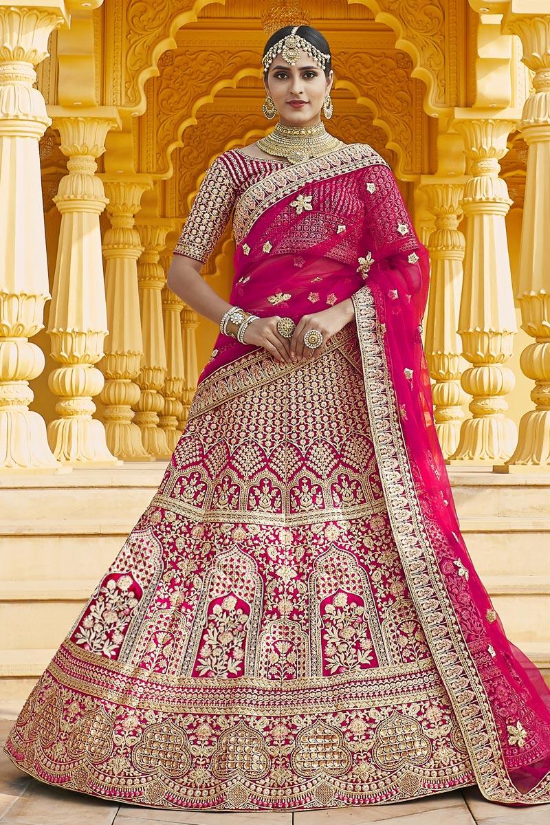 Pink Color Wedding Wear Velvet Fabric Embroidered Lehenga Choli