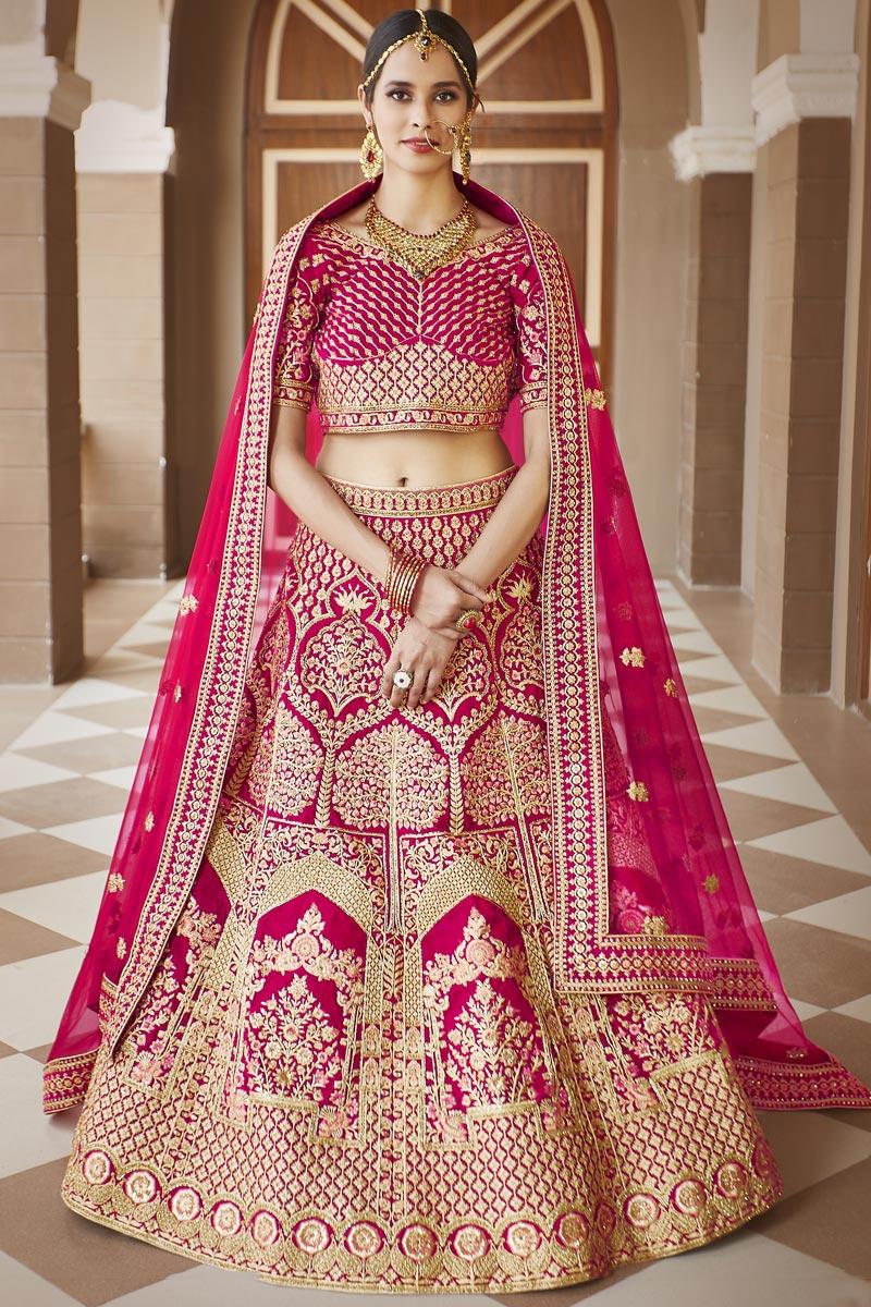 Wedding Wear Pink Color Embroidered Lehenga Choli In Velvet Fabric