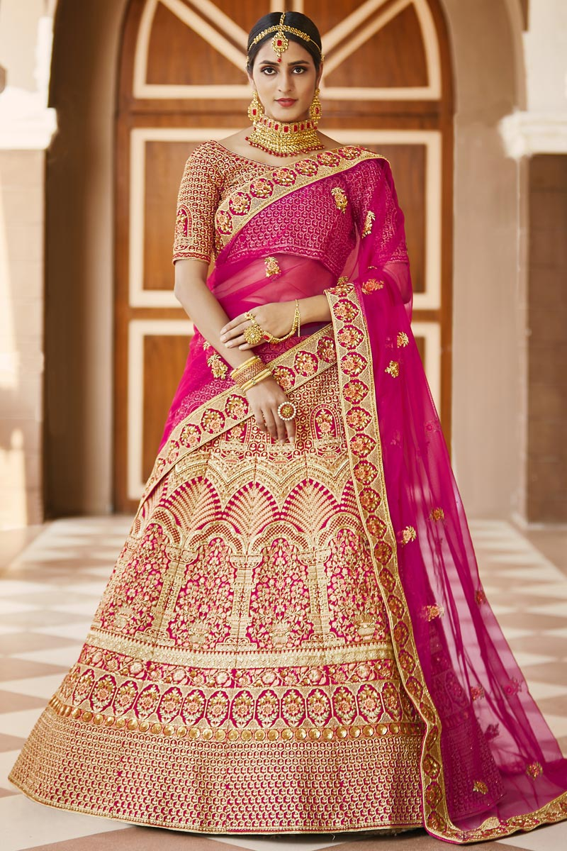 Pink Color Wedding Wear Velvet Fabric Embroidered Lehenga