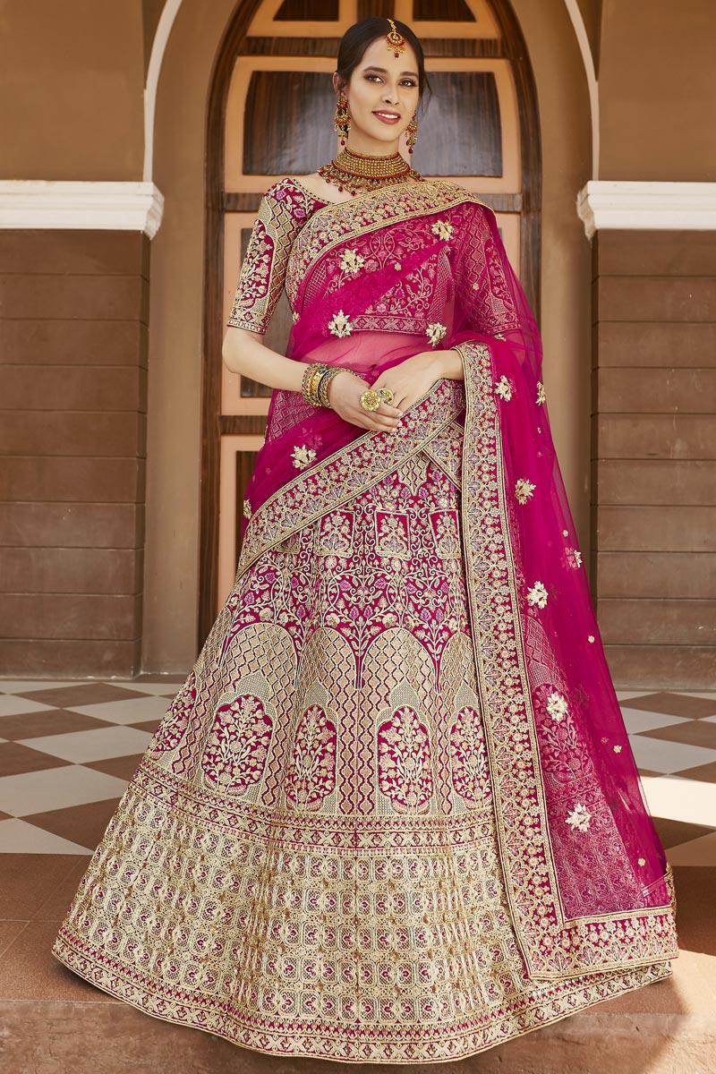 Velvet Fabric Wedding Wear Embroidered Lehenga Choli In Pink Color