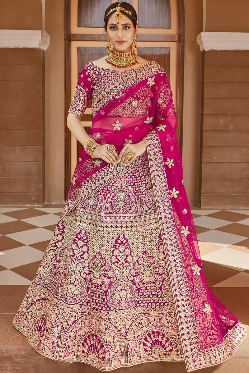 Wedding Wear Pink Color Embroidered Lehenga In Velvet Fabric