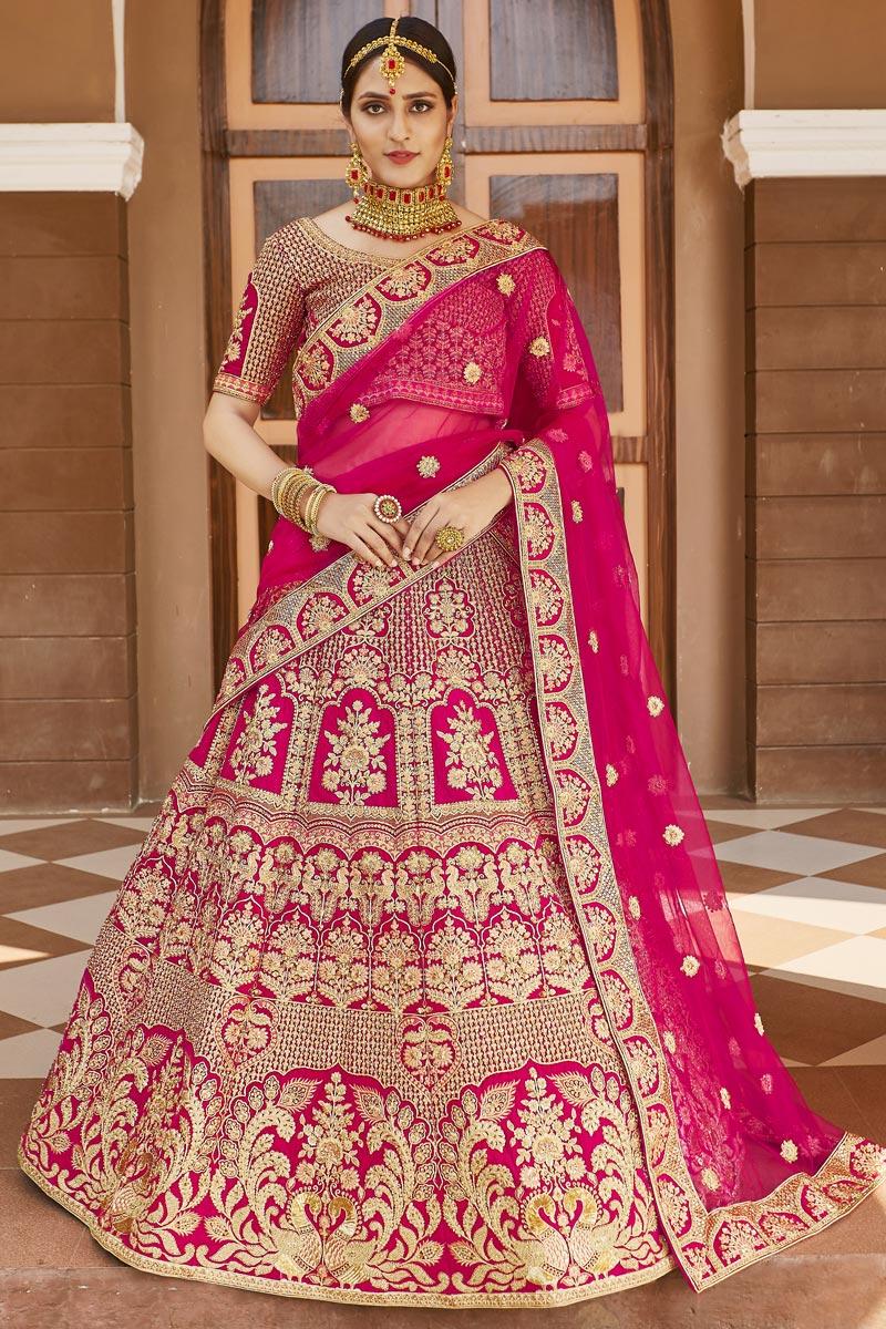 Wedding Wear Velvet Fabric Pink Color Embroidered Lehenga Choli
