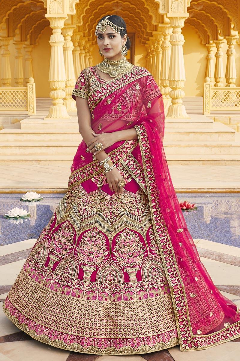 Velvet Fabric Wedding Wear Pink Color Embroidered Lehenga