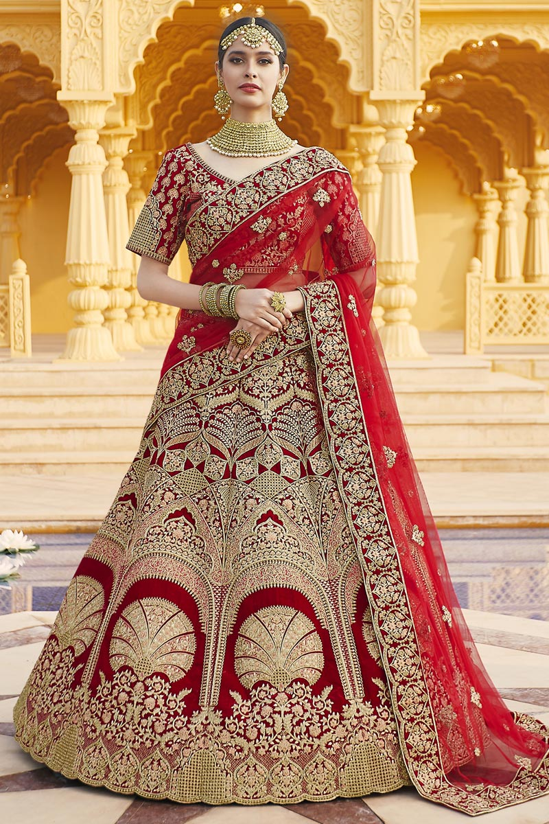 Red Color Wedding Wear Embroidered Lehenga In Velvet Fabric