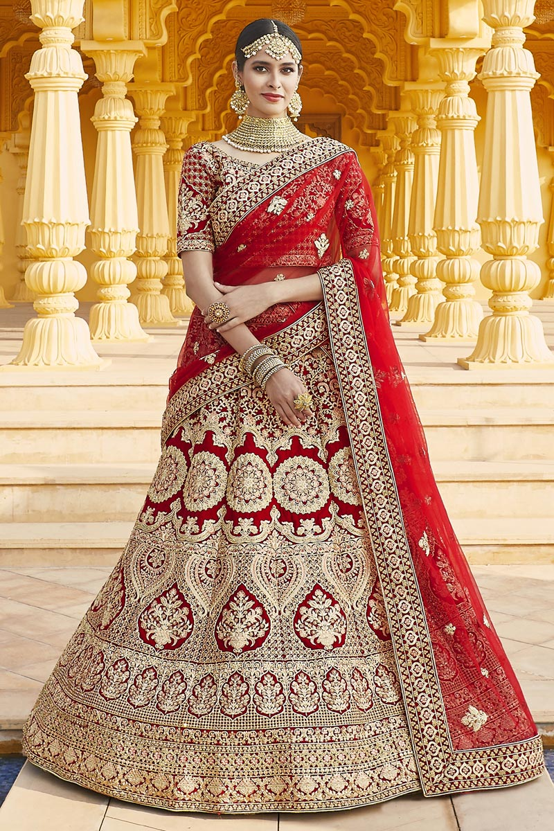 Wedding Wear Velvet Fabric Embroidered Lehenga Choli In Red Color