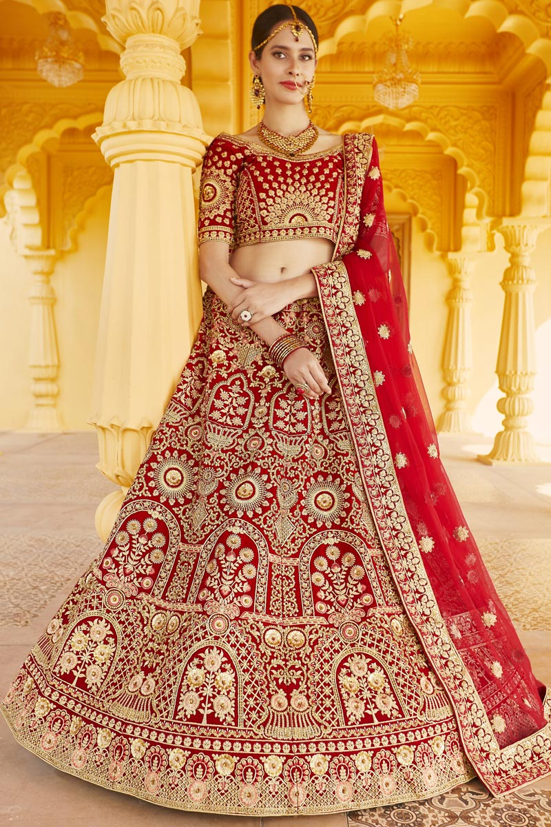 Wedding Wear Red Color Velvet Fabric Embroidered Lehenga