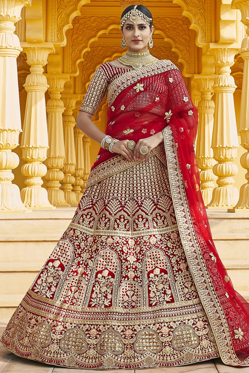 Red Color Wedding Wear Velvet Fabric Embroidered Lehenga Choli