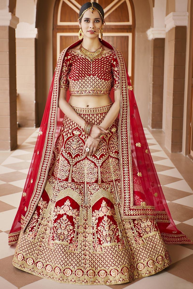 Wedding Wear Red Color Embroidered Lehenga Choli In Velvet Fabric