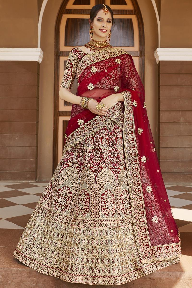 Velvet Fabric Wedding Wear Embroidered Lehenga Choli In Red Color