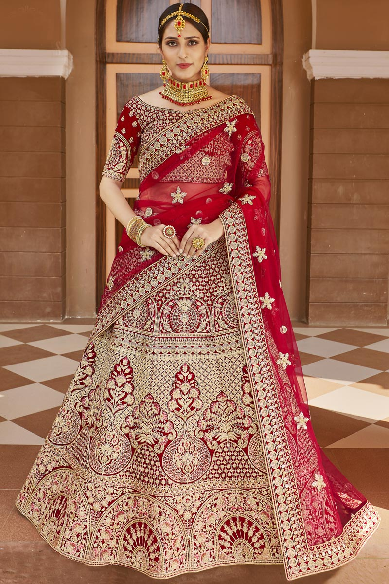 Wedding Wear Red Color Embroidered Lehenga In Velvet Fabric