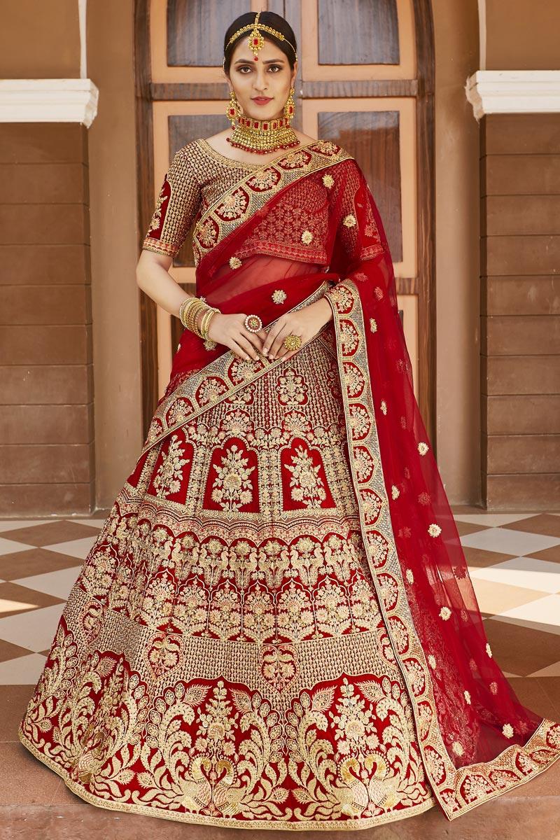 Wedding Wear Velvet Fabric Red Color Embroidered Lehenga Choli