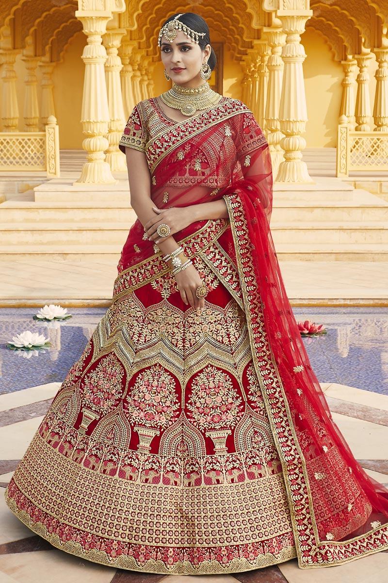 Velvet Fabric Wedding Wear Red Color Embroidered Lehenga