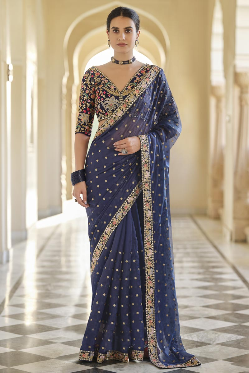 Organza Fabric Party Wear Navy Blue Color Saree With Embroidered Blouse