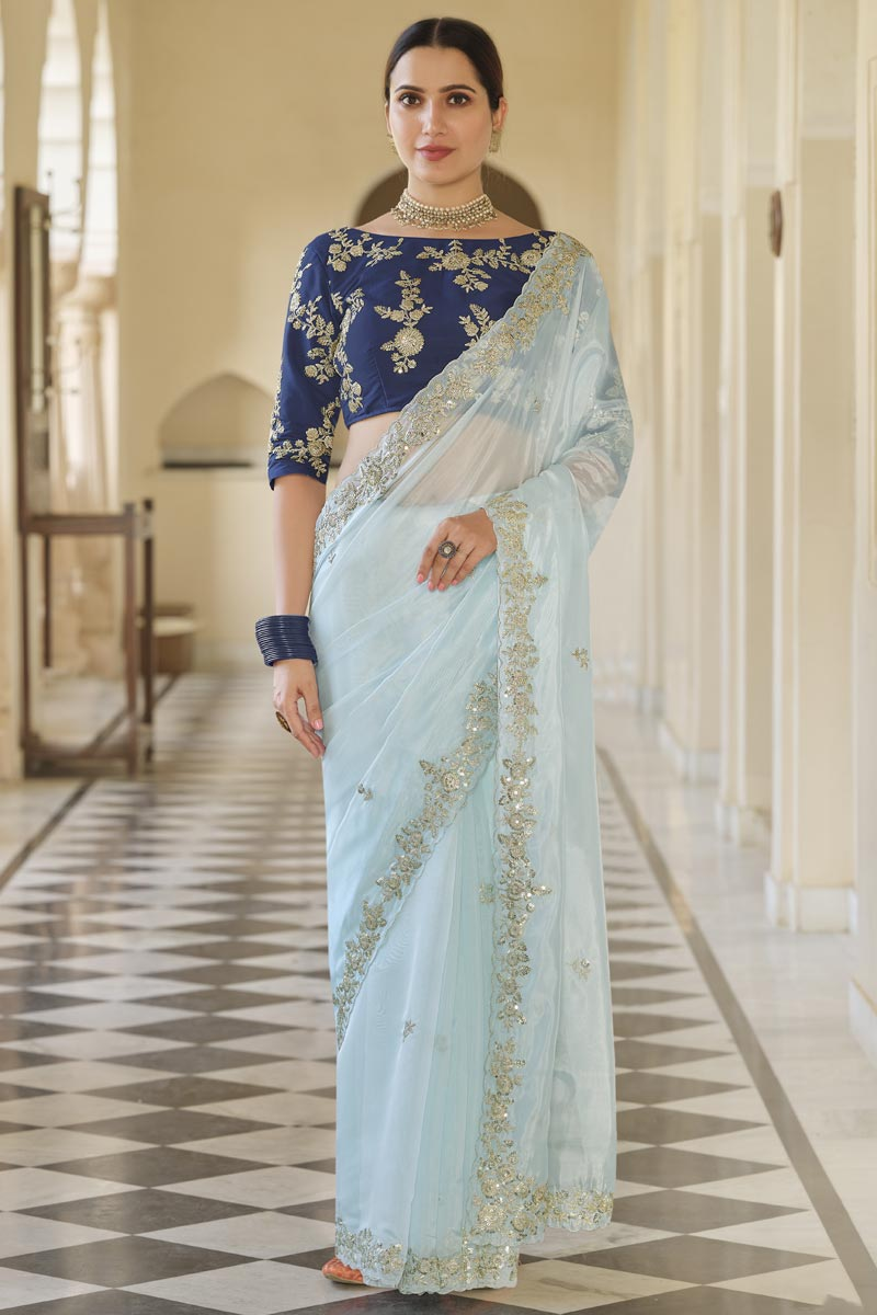 Light Cyan Color Function Wear Designer Organza Fabric Saree With Embroidered Blouse