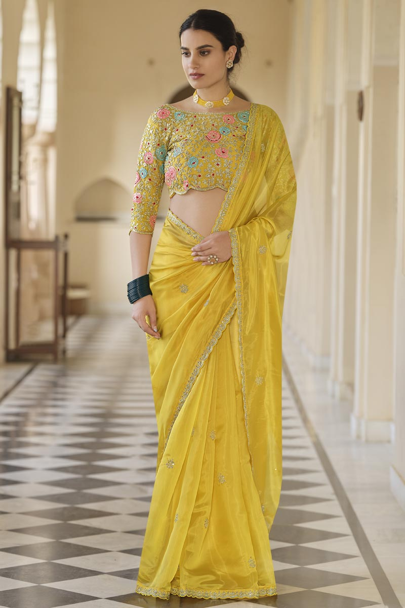 Organza Fabric Festive Wear Yellow Color Saree With Embroidered Blouse