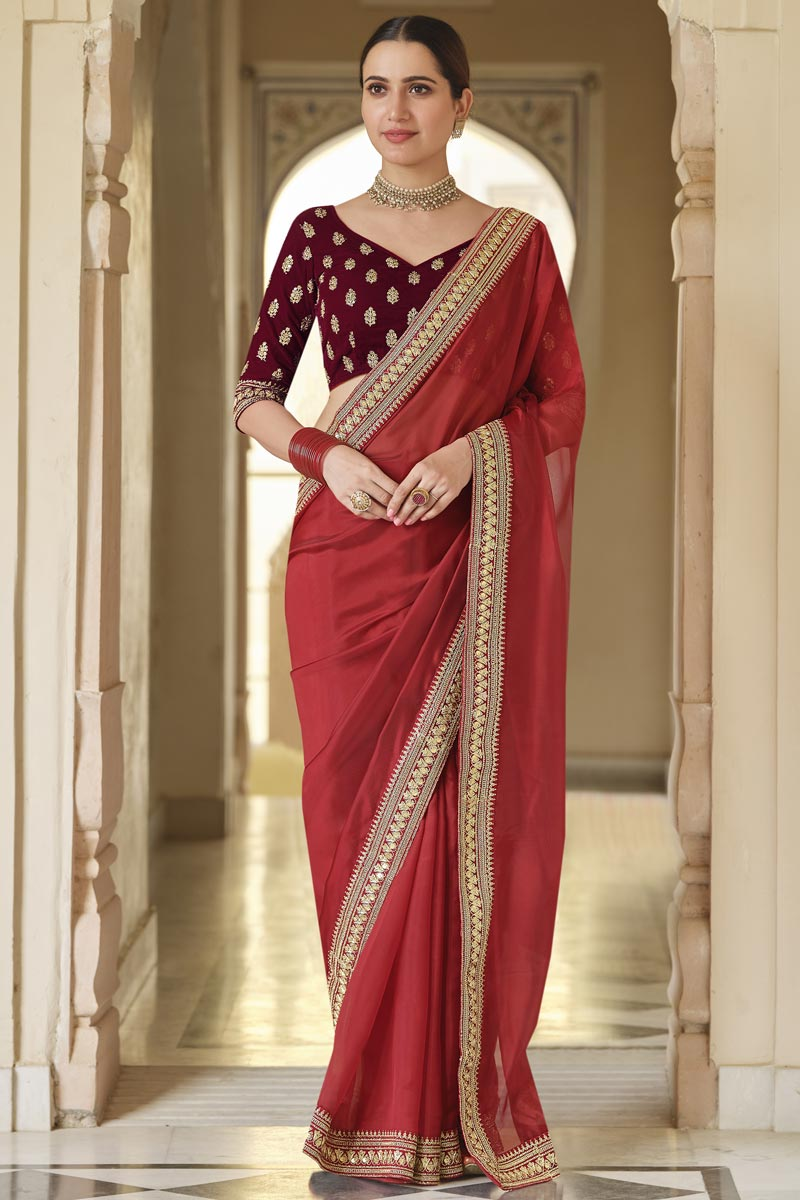Party Wear Red Color Organza Fabric Designer Saree With Embroidered Blouse