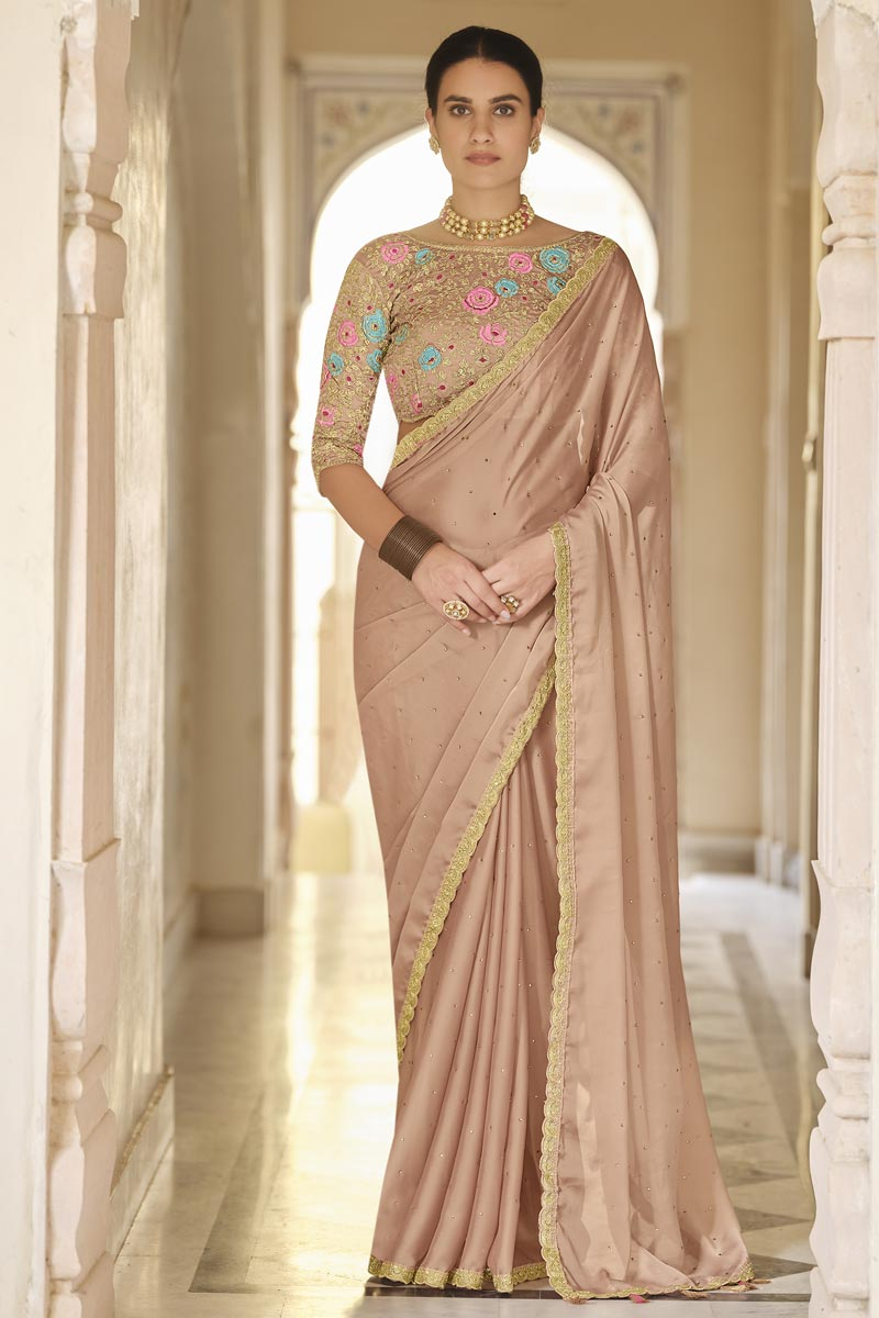 Sangeet Wear Organza Fabric Saree With Embroidered Blouse
