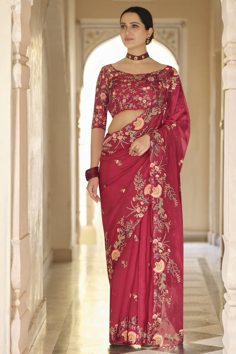 Red Color Wedding Wear Designer Organza Fabric Saree With Embroidered Blouse