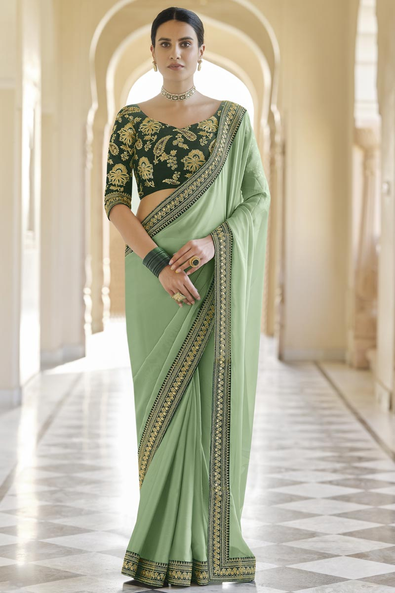 Organza Fabric Reception Wear Sea Green Color Saree With Embroidered Blouse