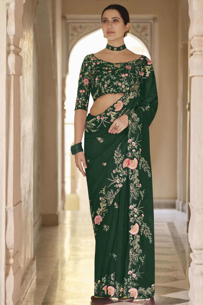 Dark Green Color Party Wear Organza Fabric Designer Saree With Embroidered Blouse