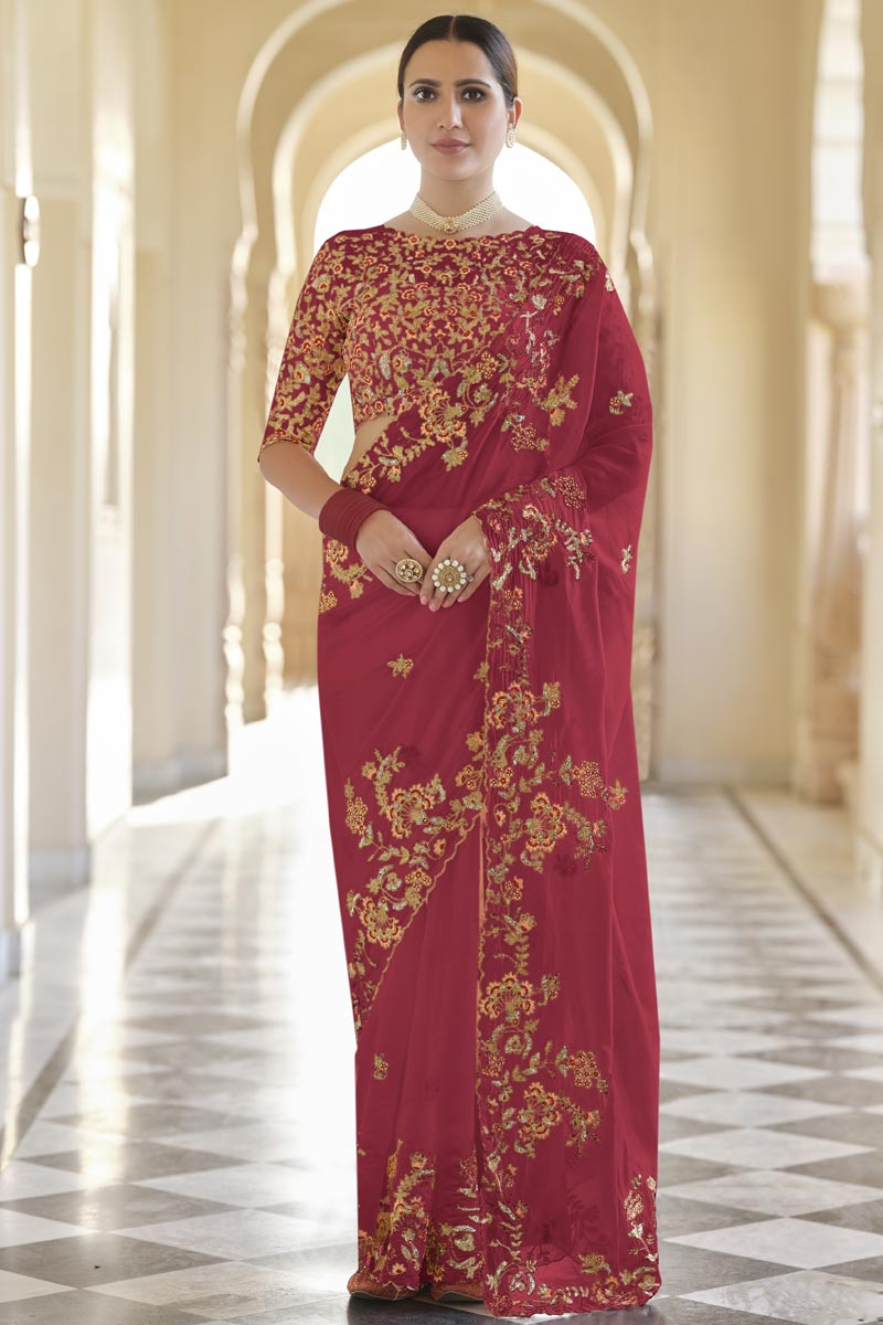 Organza Fabric Function Wear Red Color Saree With Embroidered Blouse