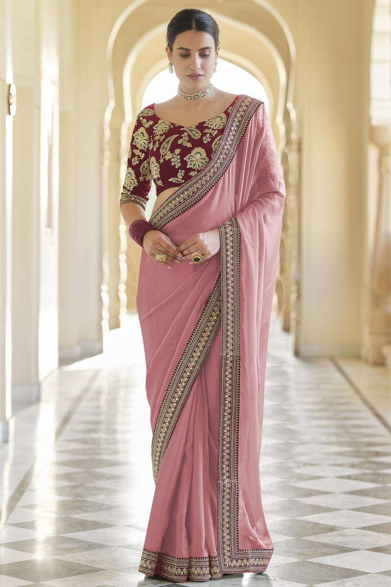 Festive Wear Pink Color Designer Organza Fabric Saree With Embroidered Blouse