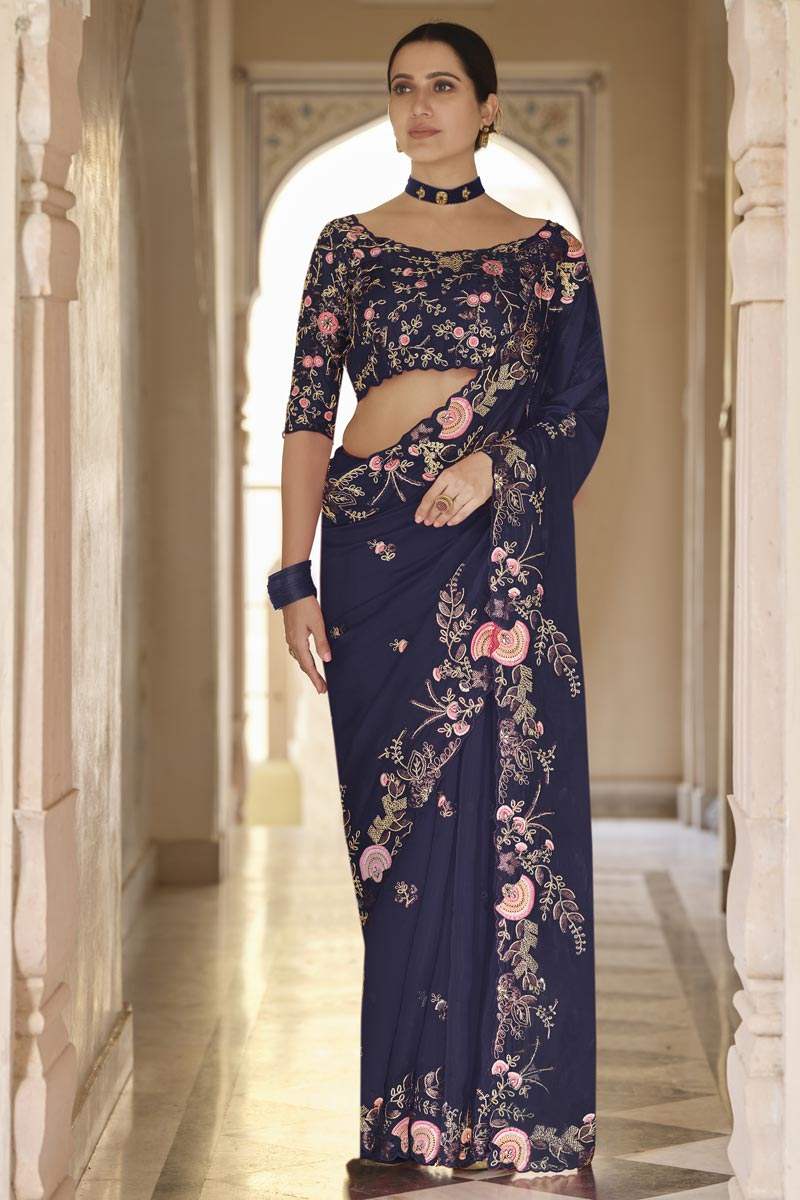 Party Wear Organza Fabric Saree With Embroidered Blouse