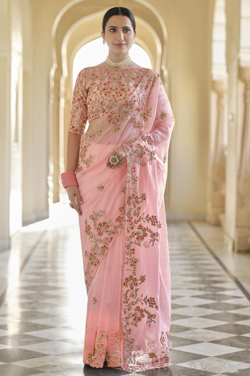 Pink Color Sangeet Wear Organza Fabric Designer Saree With Embroidered Blouse