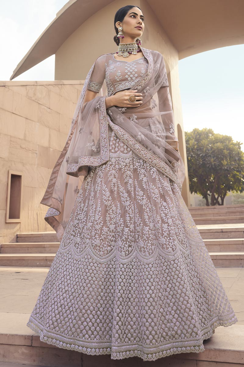 Net Fabric Dark Beige Color Stylish Wedding Wear Lehenga Choli