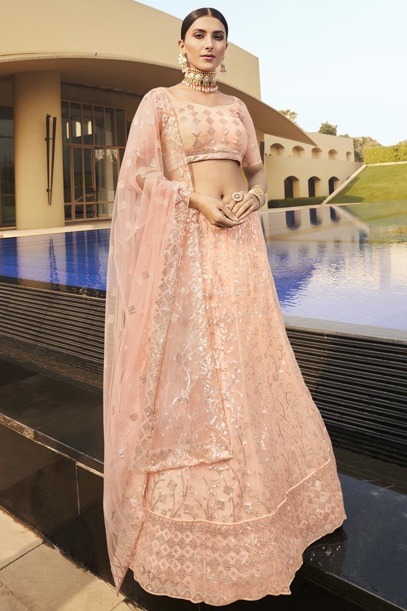 Trendy Peach Color Net Fabric Reception Wear Lehenga Choli