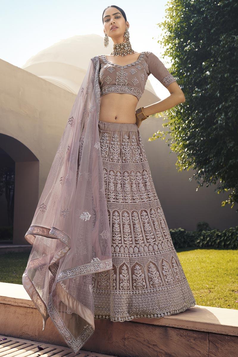 Sangeet Wear Dark Beige Color Net Fabric Designer Lehenga Choli