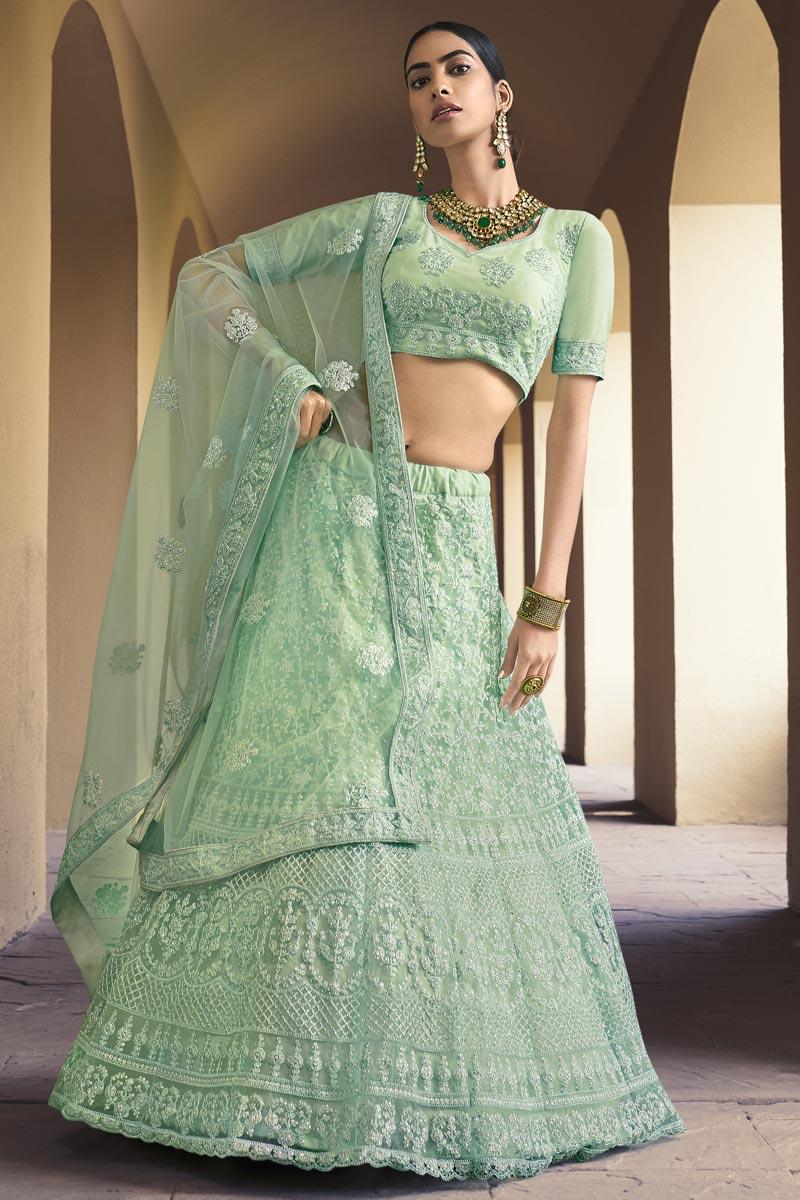 Net Fabric Fancy Wedding Wear Lehenga Choli In Sea Green Color