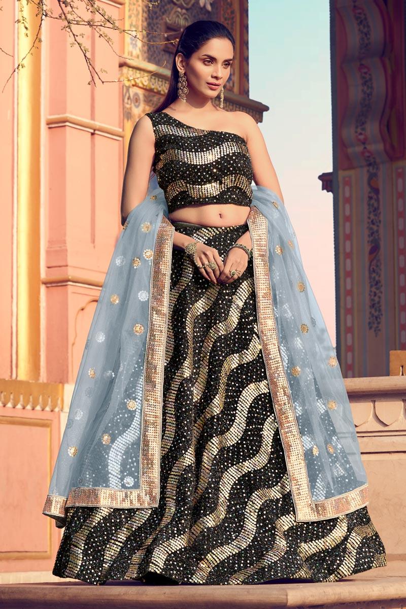 Fancy Fabric Wedding Wear 3 Piece Lehenga